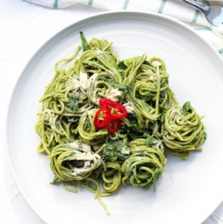 Creamy Vegan Pesto Avocado Pasta With Collard Greens