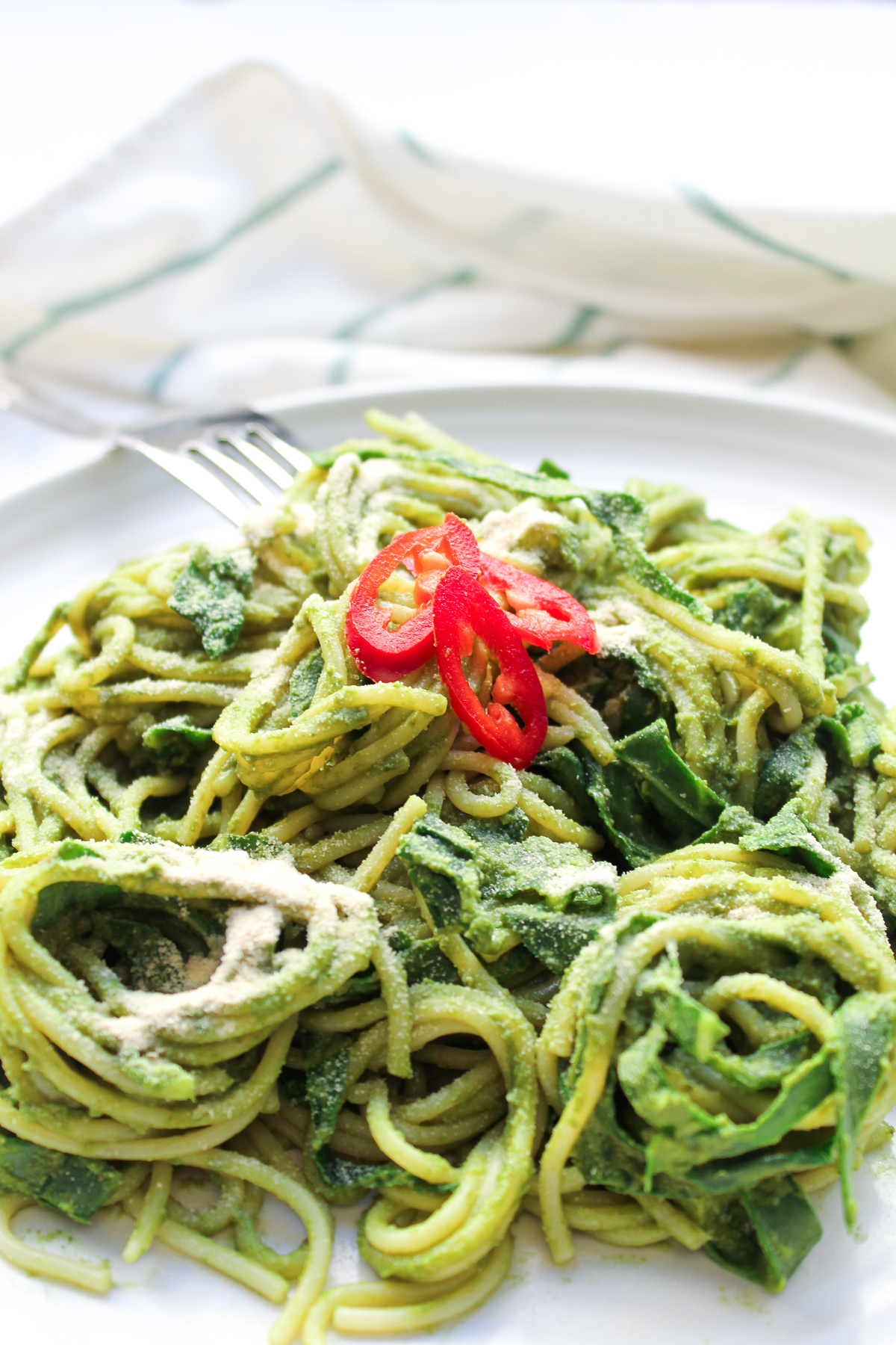 Creamy Vegan Pesto Avocado Pasta With Collard Greens