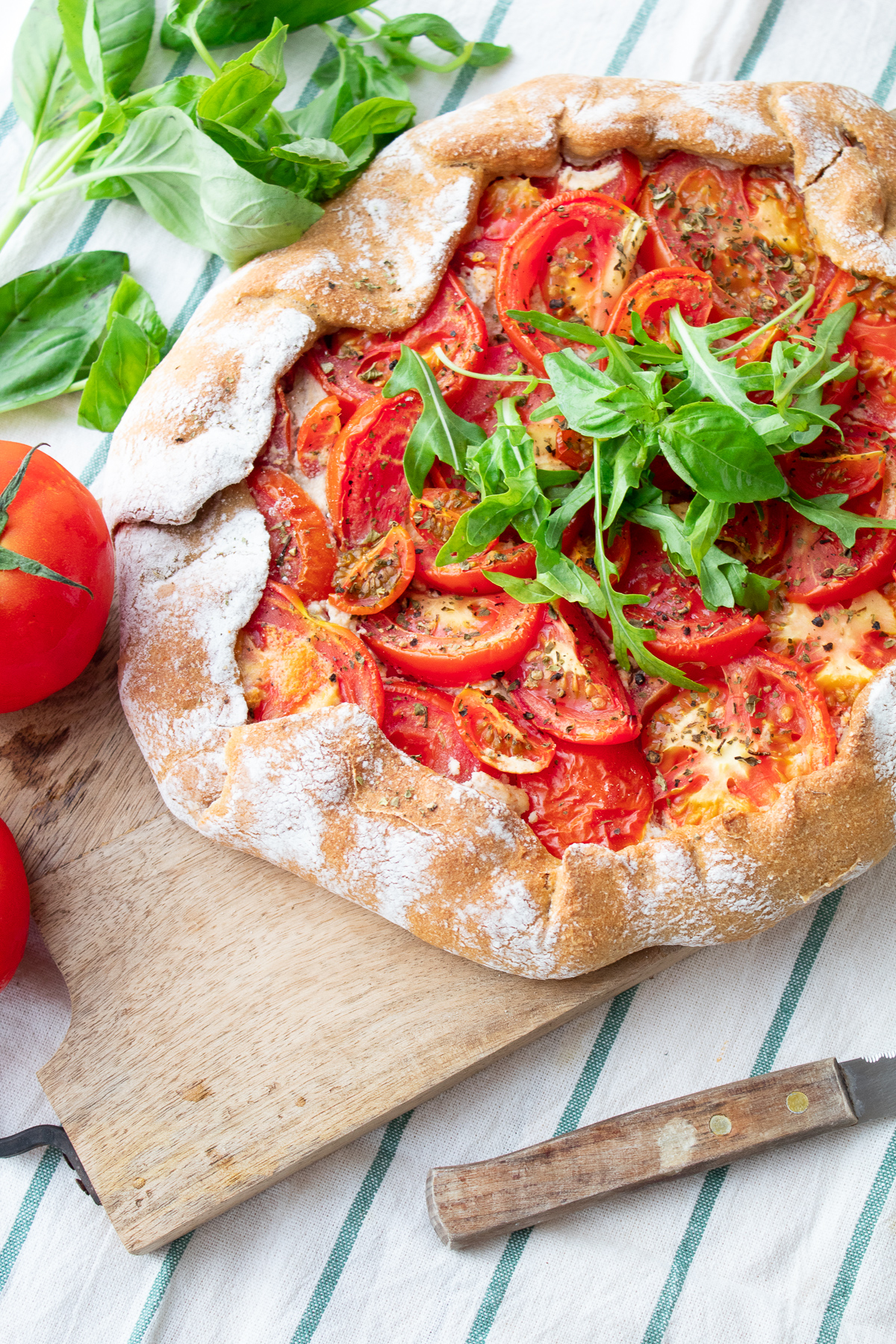Tomato Galette With Roasted Garlic Cream