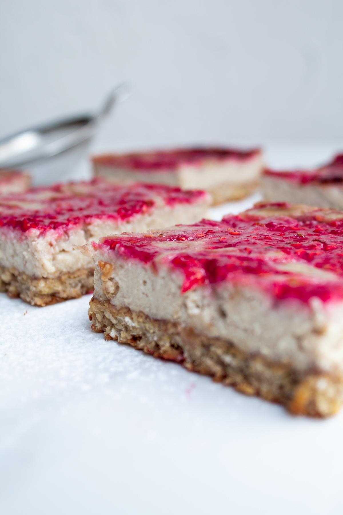 Raspberry Swirl Cheesecake Bars - Naturally-Sweetened