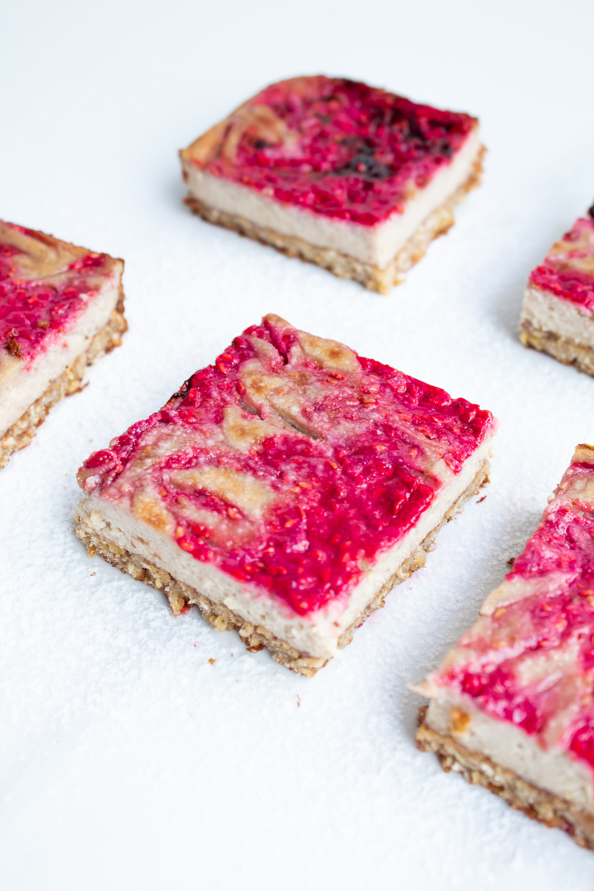 Raspberry Swirl Cheesecake Bars - Naturally-Sweetened