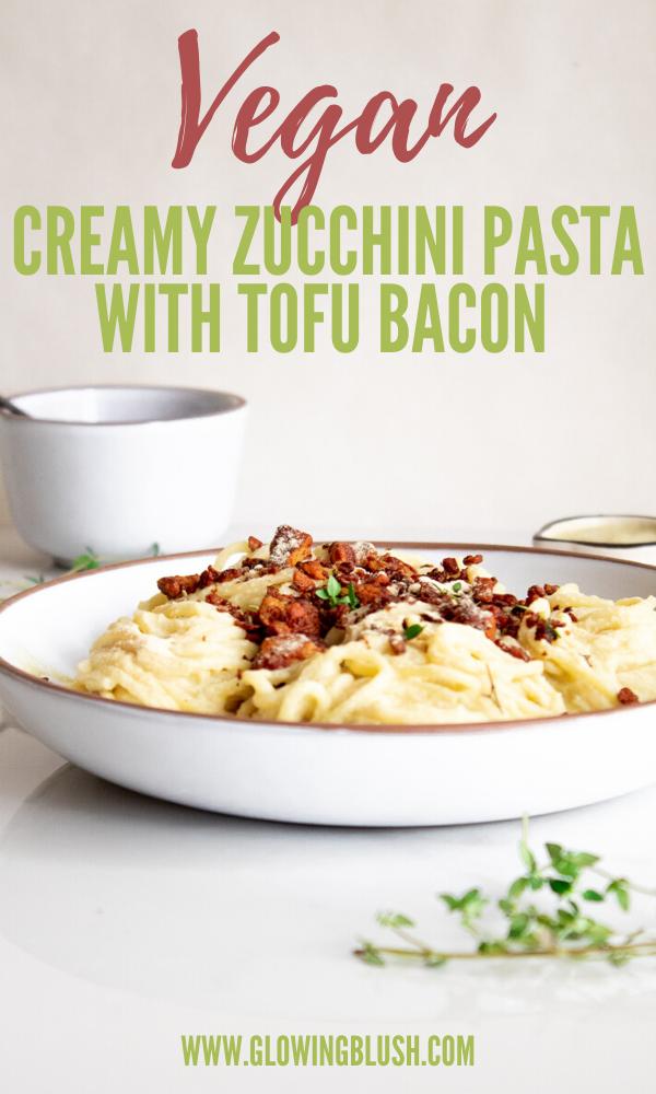 zucchini pasta with tofu bacon