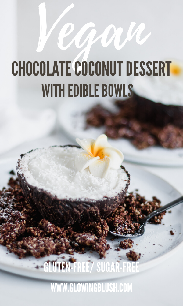 chocolate coconut dessert with edible bowl pin