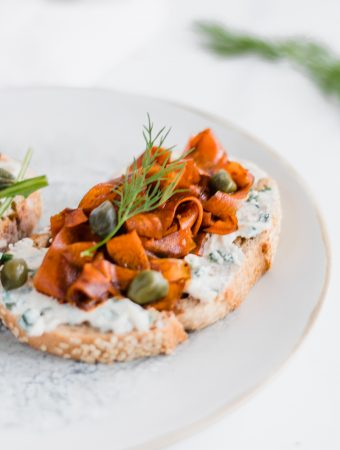 vegan carrot lox toast