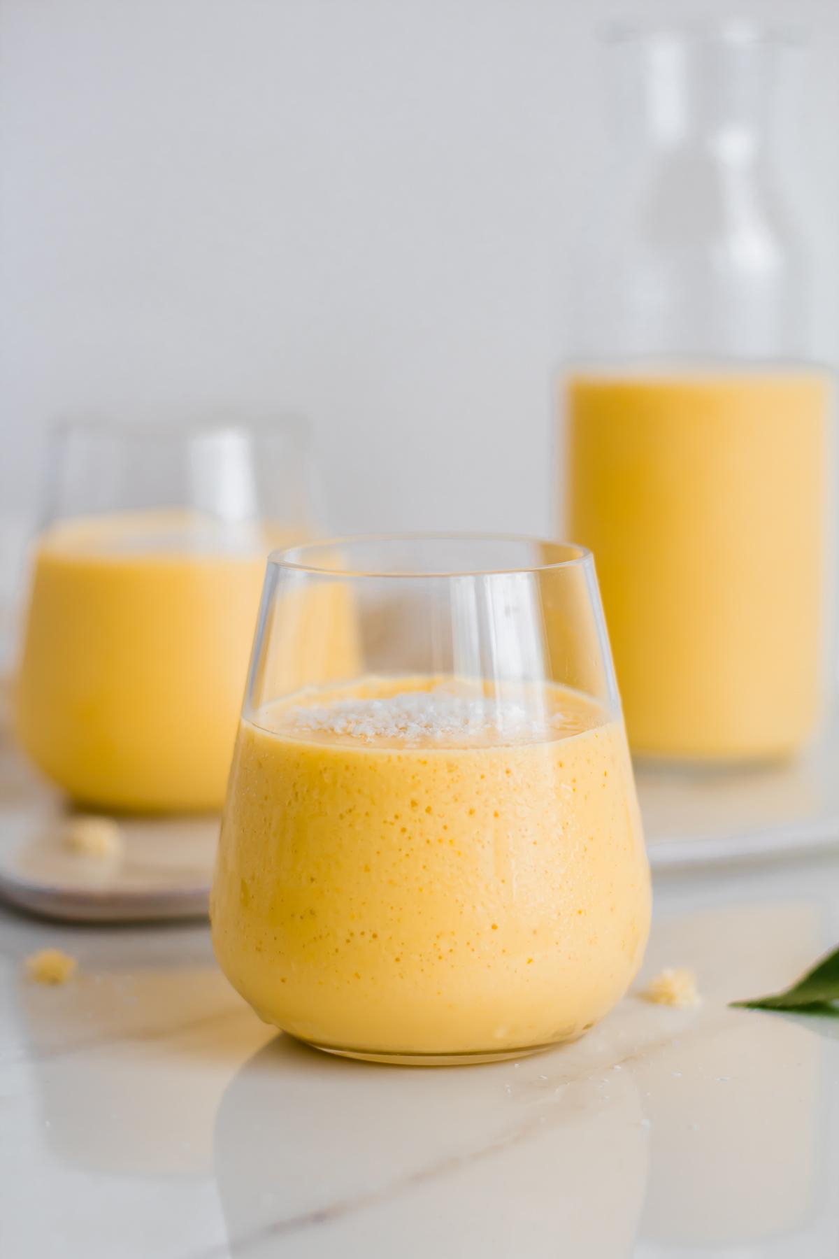 mango lassi without yogurt in glass