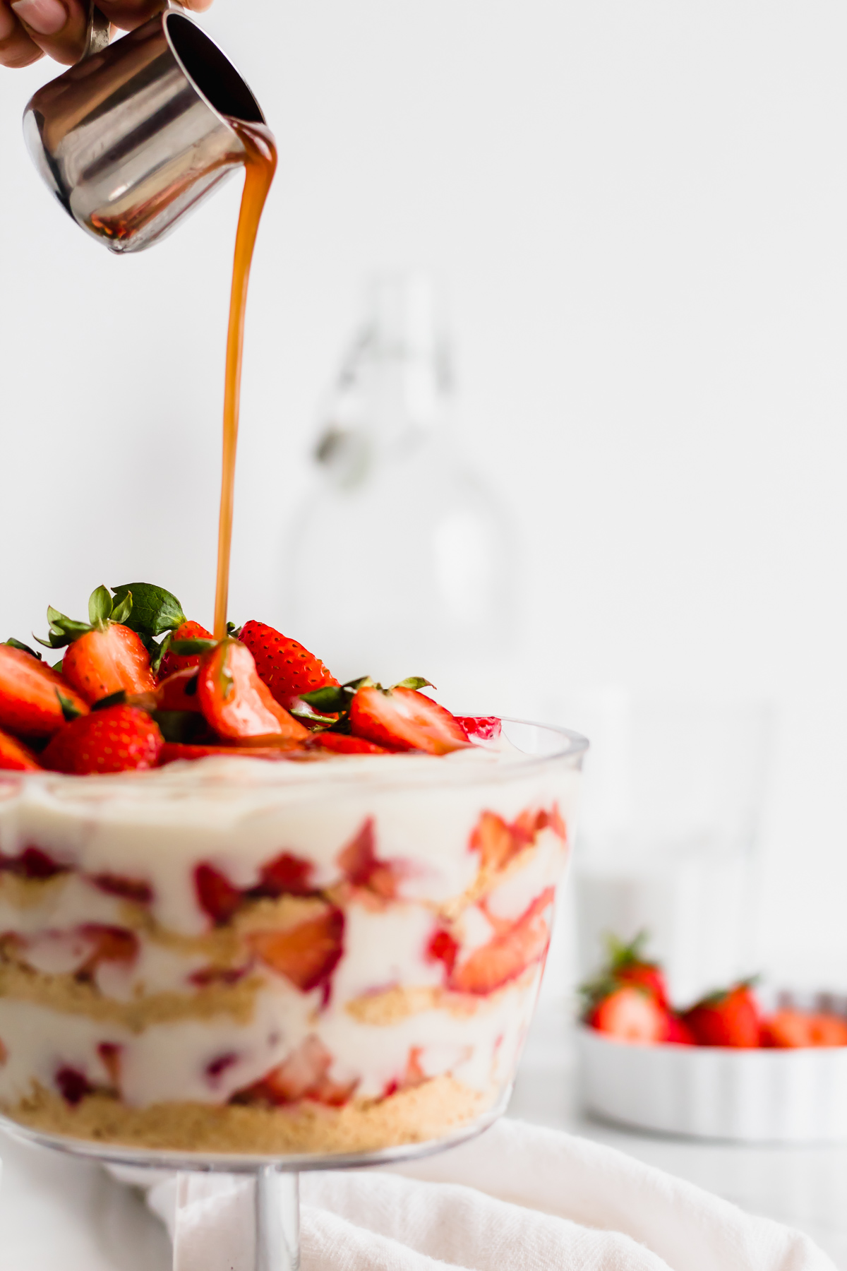 trifle in a glass with strawberry