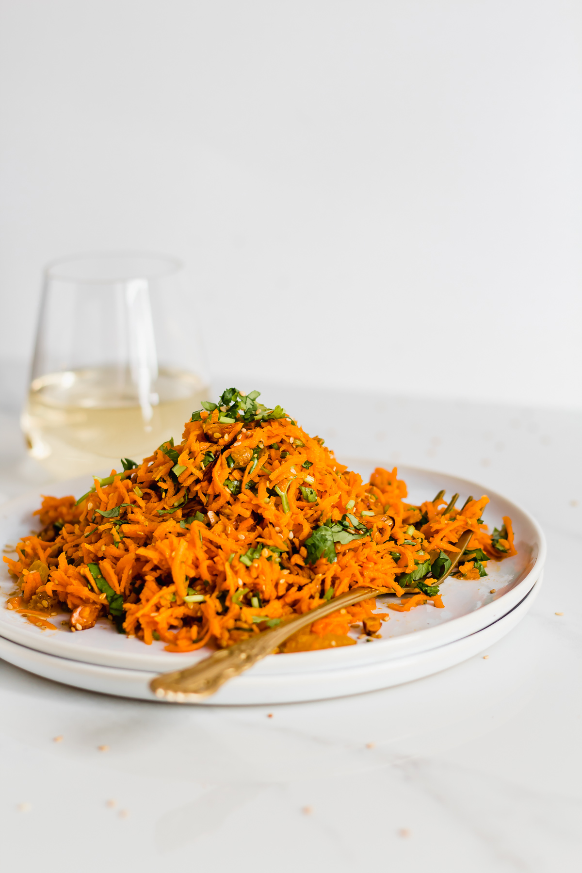 moroccan carrot salad in a plate